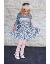 "Giggle Moon ""Tree of Life"" Grey Matilda Classic Dress & Legging Two Piece Set"