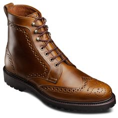Allen Edmonds Long Branch Wingtip Boots 6043 Golden Brown Chromexcel Leather