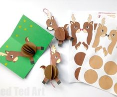 Cute and easy Paper Reindeer Ornament - make use of our handy printables for this lovely 3d Paper Reindeer Ornament! Also works as a pop up card