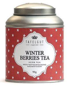 Winter Berries is een heerlijke kruidenthee met bessen.   Alle thee van tafelgut bevatten geen geur of kleurstoffen.  http://www.mijnwebwinkel.nl/winkel/olijf/a-38703854/thee-in-blik-tafelgut/tafelgut-winter-berries-tea-mini/