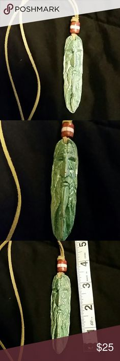 """Handcrafted Wizard wooden Pendant Handcrafted wooden wizard pendant. Awesomely detailed. One of a kind statement piece. The pendant is almost 4"""" long and the cord it comes on is 11 &1/2, totalling almost 16"""" long. Reasonable offers welcome through the offer button. Druid Wood Magick Jewelry Necklaces"""