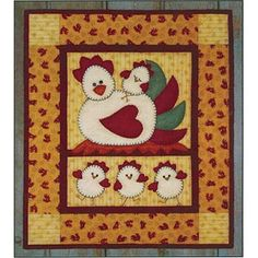 Chicken Coop Wall Quilt Pattern by Rachels of Greenfield at KayeWood.com. It'll make you cackle! Mother Hen looks on with pride as three roly-poly chicks dance around the nest. A fourth chick, exhausted from the ruckus, reclines on Mama's tail feathers. Bright chicken print fabric borders this happy family. http://www.kayewood.com/Chicken-Coop-Wall-Quilt-Pattern-by-Rachels-of-Greenfield-ROG-CHCO.htm $6.99