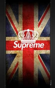 foto de Fond d'écran «Supreme» sur arrière-plan du drapeau Union Jack ...