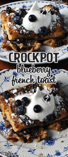 Crock Pot Blueberry French Toast is divine. All the yum without all of the work! Crock Pot Blueberry French Toast is divine. All the yum without all of the work!Crock Pot Blueberry French Toast is divine. All the yum without all of the work! Crockpot French Toast, French Toast Slow Cooker, Healthy French Toast, Best French Toast, Crockpot Breakfast Casserole, Breakfast Crockpot Recipes, Bread Crockpot, Brunch Casserole, Paleo Crockpot Recipes