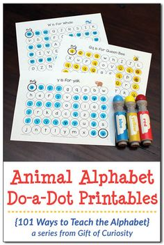 Animal Alphabet Do-a-Dot Printables - a great resource for kids who are learning their letters! I've got to try these alphabet worksheets with my kids! || Gift of Curiosity