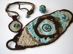 Freeform Crochet Set by anadiazarte, via Flickr  Diggin' the bracelet