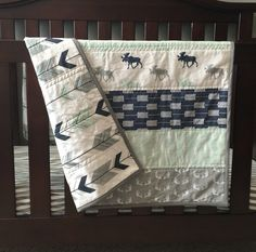 Woodland baby quilt baby boy nursery moose and by TheCoralCottage