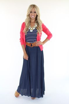 Lime Lush Boutique - Solid Navy Long Skirt With Belt, $42.99 (http://www.limelush.com/solid-navy-long-skirt-with-belt/)