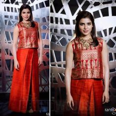For a TV interview, Samantha Prabhu donned red raw silk palazzos teamed with a brocade crop top by Payal Khandwala. For a TV interview, Samantha Prabhu donned red raw silk palazzos teamed with a brocade crop top by Payal Khandwala. Indian Designer Outfits, Indian Outfits, Designer Dresses, Indian Clothes, Sari Dress, The Dress, Bandhani Dress, Saree Gown, Lehenga Skirt