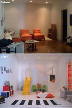 Before and after playroom...love the slide!