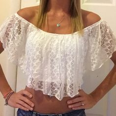 Lace crop top White lace off the shoulder crop top from Charlotte Russe. Worn once to a country concert. Charlotte Russe Tops Crop Tops