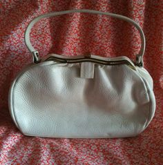 Vintage 1960s White Leather Handbag with Brass by BarbeeVintage, $25.00
