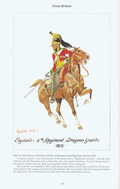 Great Britain: Plate (Princess Charlotte of Wales's) Dragoon Guard Regiment, Private, 1815 Waterloo 1815, Battle Of Waterloo, British Uniforms, Napoleonic Wars, Modern Warfare, Princess Charlotte, British Army, Military History, Victorian Era