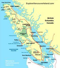 MAP VANCOUVER ISLAND British Columbia Canada Vancouver Island, Sandy Beaches, Big Island, Canada Travel, British Columbia, West Coast, Road Trip, Map, Buildings