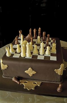 Chess Cake by Ana Parzych Cakes Fondant Cakes, Cupcake Cakes, Decors Pate A Sucre, Chess Cake, Realistic Cakes, Cupcake Queen, Cakes For Women, Novelty Cakes, Cake Decorating Techniques