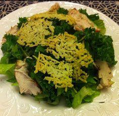 Kale Chicken Caesar Salad with Parmesan Crisp Croutons