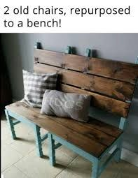 Two old chairs converted into a bench for extra dining room seating when needed! Two old chairs converted into a bench for extra dining room seating when needed! Refurbished Furniture, Repurposed Furniture, Pallet Furniture, Painted Furniture, Furniture Design, Furniture Ideas, Cardboard Furniture, Furniture Websites, Repurposed Items