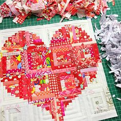 Make a scrappy heart shape pillow. Use tiny fabrics scraps for a beautiful project. Scrappy Heart Pillow pattern by Amira of The Little Mushroom Cap Heart Quilt Pattern, Quilt Patterns, Paper Pieced Patterns, Scrappy Quilts, Mini Quilts, Patchwork Quilting, Diy Craft Projects, Sewing Projects, Block House