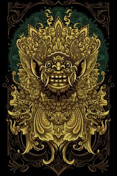 Shop angoes's designs on Design By Humans. Kanvas Art, Barong Bali, Thailand Art, Leg Sleeve Tattoo, Indonesian Art, Batik Art, Minimalist Wallpaper, Oriental Tattoo, Chicano Art
