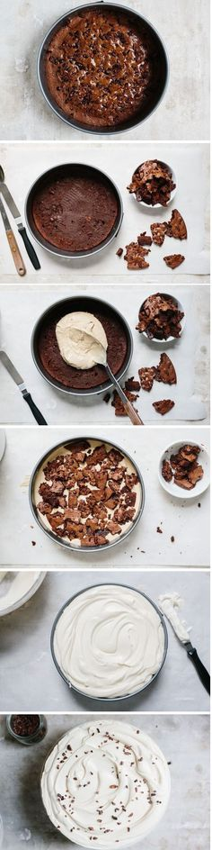 how to make a coffee ice cream & brownie layer cake