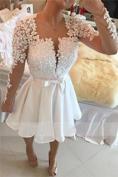 XH68 Short White Prom Dress,Short Lace Homecoming Dress,Party Gown – FashionDressGallery