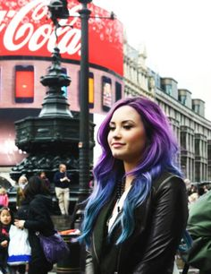Demi with purple/blue ombre hair
