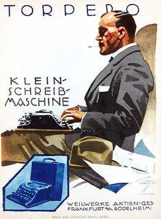 By Ludwig Hohlwein, 1 9 2 6,  Torpedo Klein schreib maschine. (G)