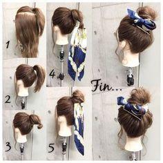 簡単で可愛い?自分でできるヘアアレンジ✨ スカーフシリーズpart9? メッシーバン✖︎スカーフミックスがルーズで 可愛いカジュアルスタイル✂︎ ・ ピン3本・スカーフ・ゴム2本 所有時間10分 1.ハチ上で1つに結びます。 2.残りの毛をおくれ毛を残して1の下で結びます 3.毛先をまとめてさらにゴムで結びます 4.結んだ毛先の輪っかの部分にスカーフを通します。 5.スカーフを通した輪っかの部分を手前に折り返しピンで2カ所留めます。 Fin.スカーフをお団子に巻きつけて片方に寄せてリボン結びしつつ、お好みでヘアアクセをつけてアクセントに*** おくれ毛をコテで巻いて完成? ・ ・ 吉祥寺 LinobyU-REALM リノバイユーレルム ?0422272131
