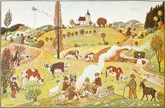 Lada Josef 1887–1957 | Dětské hry na podzim, 1937 | Aukce obrazů, starožitností | Aukční dům Sýpka Painting, Art, Retro, Auction