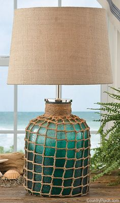 Sea Green Lamp with Shade