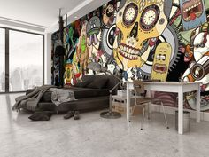 Bachelor pad cool bedroom idea with sugar skull wall mural. Graffiti Bedroom, Bedroom Murals, Bedroom Wall, Graffiti Art, Bedroom Ideas For Men Bachelor Pads, Bachelor Room, Jugendschlafzimmer Designs, Custom Wall Murals, Teen Bedroom Designs
