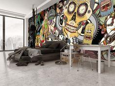 Bachelor pad cool bedroom idea with sugar skull wall mural.