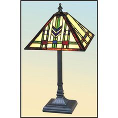 Buffet lamp with beige glass and green and red accents craftsman very colorful chevron design craftsman table lamp aloadofball Images