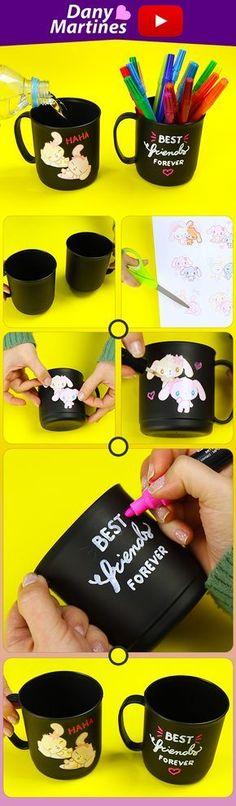 Faça Você mesmo caneca decorativa para sua amiga, best friends, melhores amigas, DIY, do it yourself, diy fofinho, kawaii