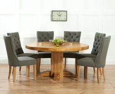 452e36685dd1 Buy the Torino Dark Solid Oak Round Pedestal Dining Table with Anais Fabric  Dark Oak Leg Chairs at Oak Furniture Superstore