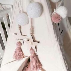 Nordic Style Cute Star Shape Wooden Beads Tassel Pendant Wall Hanging Ornament D