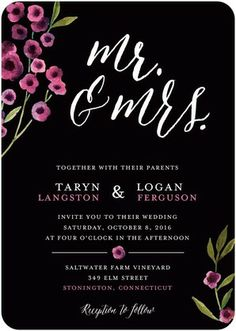 Flowery Touch - Signature White Textured Wedding Invitations - Magnolia Press - Heather - Pink : Front