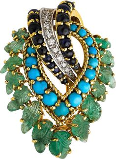Estate Jewelry - Diamond, Multi-Stone, Gold Brooch, French.