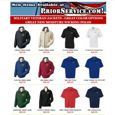 Military Conflict Jackets for: Cold War, Korean, Vietnam, Afghanistan, Iraq... at http://www.priorservice.com/micoja.html Military Polos for the Army, Navy, Air Force, USMC, USCG at http://www.priorservice.com/newitems.html