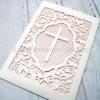 CHRISTENING LASER CUT CARDS CLA113 WHITE (CRYSTAL)