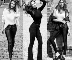 Três looks da Jessica Alba para a campanha de outono/inverno da DL1961!💫 1° de moletom + calça de couro; 2° blusa de mangas compridas + calça flare; 3° jaqueta jeans + camisa + jeans skinny. #fashion #jessicaalba #blackwhite #dl1961 #fallwinter