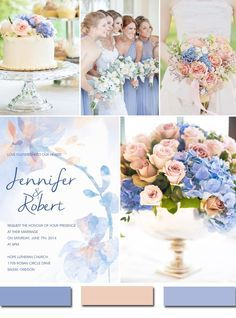 pastel pink and serenity blue wedding color ideas for 2016 Periwinkle Wedding, Blue And Blush Wedding, Periwinkle Blue, Cornflower Blue Weddings, Peach Wedding Theme, Wedding Pastel, Dusty Blue, Wedding Themes, Wedding Decorations