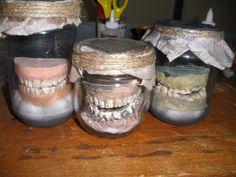 false teeth in a jar~different degrees of bad hygiene. Asylum Halloween, Halloween Haunted Houses, Halloween Projects, Holidays Halloween, Vintage Halloween, Halloween Party, Haunted Diy, Haunted Maze, Carnival