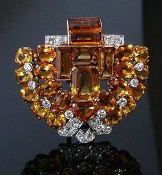 Citrine and diamond brooch, Cartier, London, Circa 1937. Photo courtesy Peter Edwards Jewels