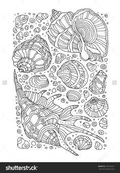 Find Seashell Pattern Art Background Vector Illustration stock images in HD and millions of other royalty-free stock photos, illustrations and vectors in the Shutterstock collection. Coloring Book Pages, Printable Coloring Pages, Coloring Pages For Kids, Coloring Sheets, Coloring Pages To Print, Free Adult Coloring, Diy Y Manualidades, Mandala Coloring, Art Background