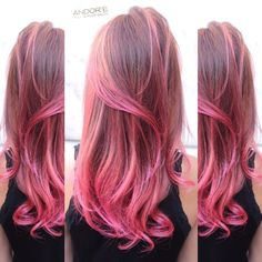 Photo of Andor'e Salon - Beverly Hills, CA, United States. Pink Balayage hair color by Andy and gorgeous layered haircut by Gary