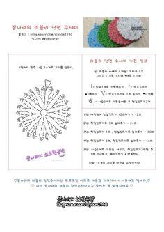 꿈나래의 러블리 단면수세미 뜨는법 &도안공유 : 네이버 블로그 Crochet Chart, Crochet Stitches, Crochet Patterns, Yarn Crafts, Diy Crafts, Crochet Scrubbies, Crochet Circles, Crochet Home, Crochet Doilies