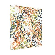 Add energy and pop to any room. Abstract Scribbles in Orange and Blue on Canvas Gallery Wrapped Canvas.