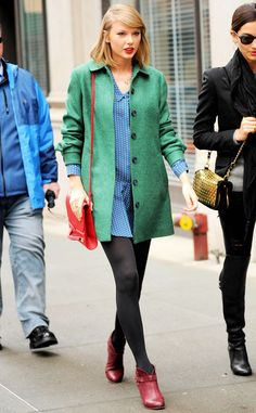 Taylor Swift looks groovy in green while strolling through the Big Apple!