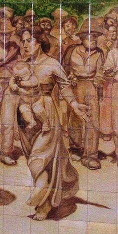 """Pannello in ceramica cm tot.200x420 Mattonelle cm 20x20 Decorazione a mano Particolare Ispirazione ed omaggio a G.Pellizza da Volpedo """" Il quarto stato """" By Rondinellart #ceramics #ceramicart #arte #art #artistic #pietralavica #design #disegno #dipintoamano #dipinto#uliveto #ulivi #ulivisecolari #cats #cat#olive #olivegarden #olivetrees#portelladellaginestra #sicilia #interiordesign #designer #design#majolica#artsamazingz#worldofartist#featureme"""